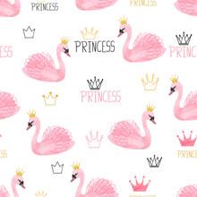 Seamless Swan Princess Pattern. Vector Watercolor Illustration.