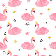 Seamless Vector Watercolor Swan Princess Pattern.
