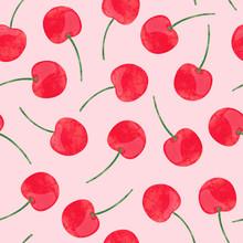 Watercolor Cherry Pattern. Vec...