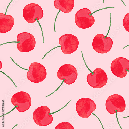 Obraz na plátně Watercolor cherry pattern. Vector seamless background.