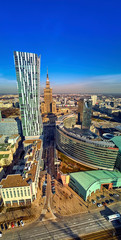 FototapetaWARSAW, POLAND - FEBRUARY 23, 2019: Beautiful panoramic aerial drone view to the center of Warsaw City and