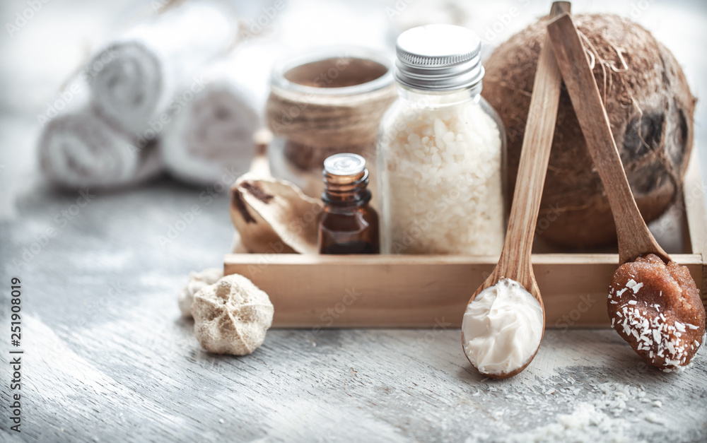 Fototapety, obrazy: Spa still life with fresh coconut and body care products