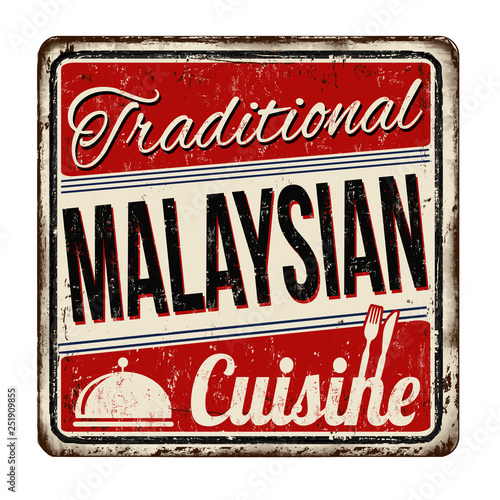 Cuadros en Lienzo Traditional malaysian cuisine vintage rusty metal sign
