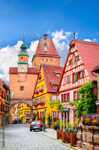Beautiful streets in Rothenburg ob der Tauber with traditional German houses, Bavaria, Germany Fototapete