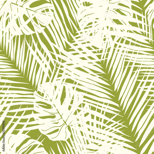 Ingelijste posters Tropische Bladeren Cute green tropical leaves seamless pattern design