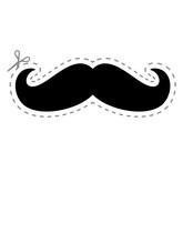 Ausschneiden Schere Emergency Mustache Notfall Gestrichelte Linie Lustig Witzig Mustache Schnurrbart Zeichen Symbol Rasieren Bart Wachsen Lassen Rasierer Clipart Logo Design
