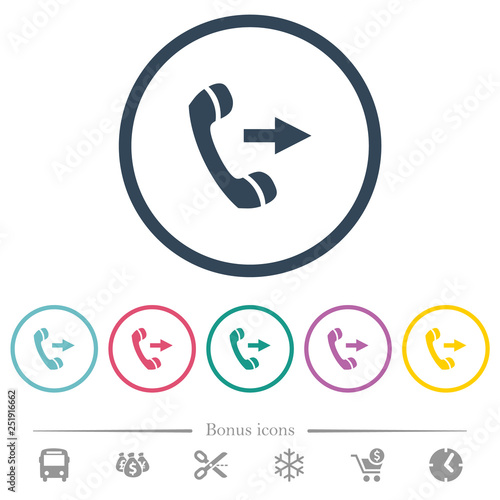 Valokuva  Outgoing phone call flat color icons in round outlines