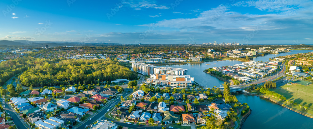 Fototapety, obrazy: Aerial panorama of luxury real estate at Varsity Lakes suburb on Gold Coast, Queensland, Australia