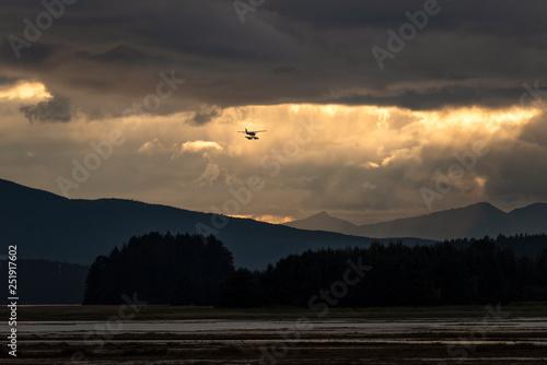 Flightseeing over Mendenhall Wetlands at sunset;  Alaska