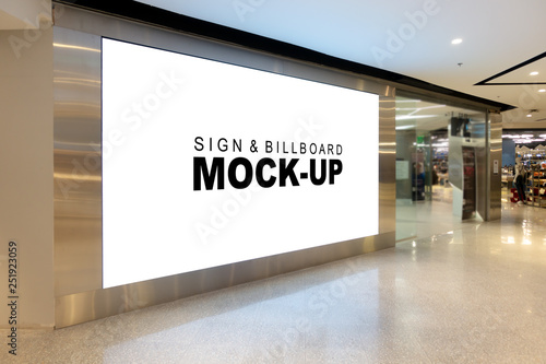 Fototapeta Mock up large billboard at corridor in shopping mall obraz