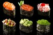 Set sushi gunkan from salmon, caviar, tuna, shrimp, avocado and smoked eel on black background. Traditional Japanese cuisine