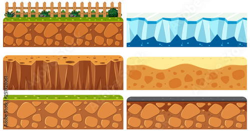 Set of ground surface Canvas Print