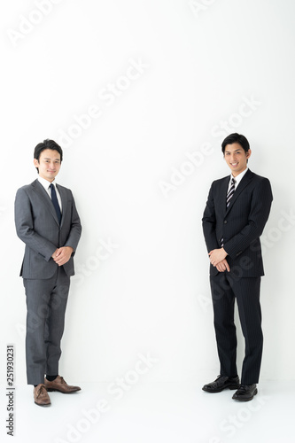 portrait of two asian businessman on white background Canvas Print