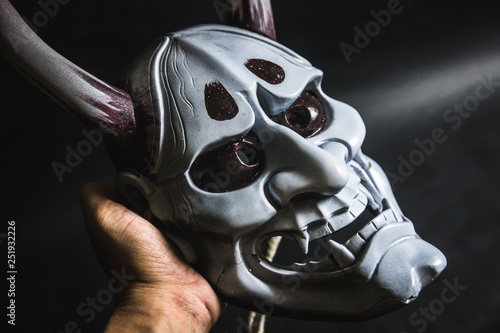 Fotografia Japanese oni mask or giant mask, used to decorate handmade from original to make