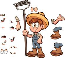 Cartoon Farmer Boy With Differ...