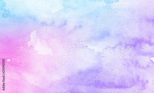 Fotografía  Fantasy smooth light pink, purple shades and blue watercolor paper textured illustration for grunge design, vintage card, templates