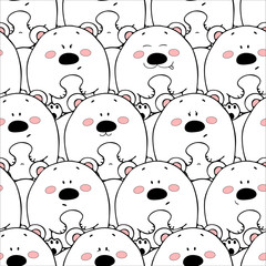 Vector seamless pattern with hand-drawn funny cute fat animals. Silhouettes o...