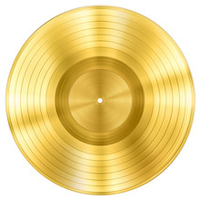 Gold Record Music Disc Award Isolated On White