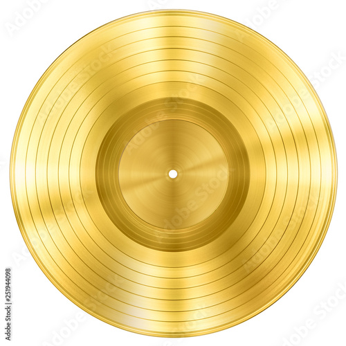 Fotomural gold record music disc award isolated on white