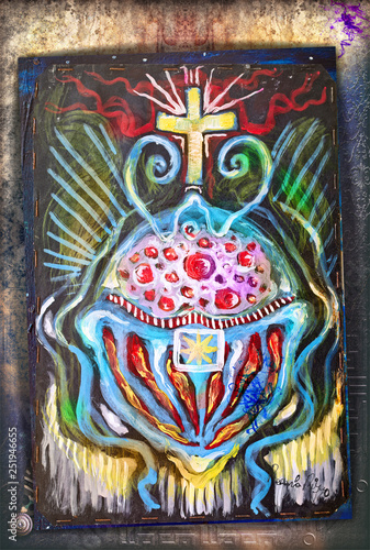 Tuinposter Imagination Celtic and ethnic cross. Ayahuasca vision and symbols