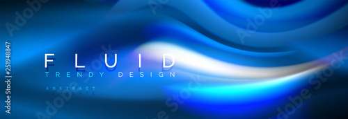 Photo Fluid colors mixing glowing neon wave background, holographic texture