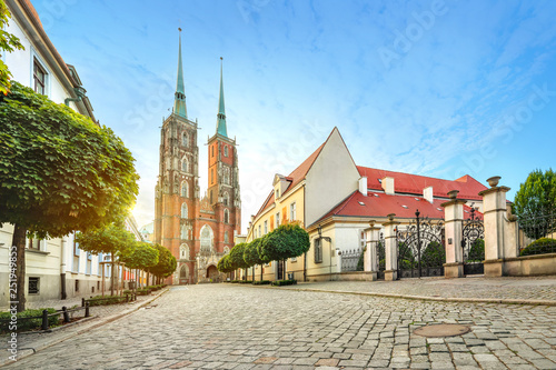 Obraz Wroclaw, Poland. Panoramic view of Cathedral of St. John the Baptist on sunrise (HDR image) - fototapety do salonu