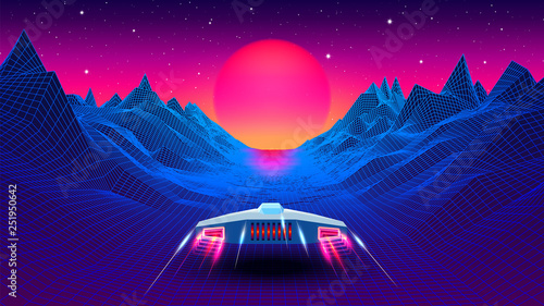 Foto Arcade space ship flying to the sun in blue corridor or canyon landscape with 3D