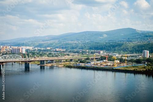 Fototapeta city, Krasnoyarsk, Siberia, Russia, panorama obraz