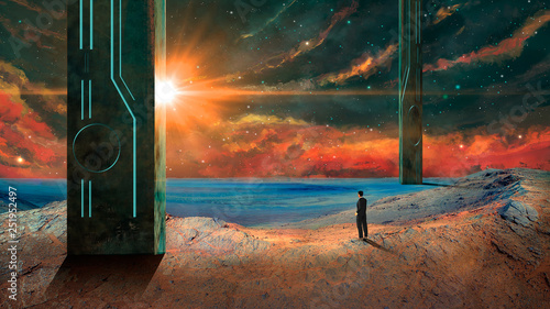 Poster UFO Business man standing in sci-fi landscape with pillars, nebula, stars and sun. Elements furnished by NASA. 3D rendering