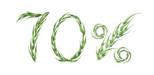 70% Text, Seventy Percent From Green Leaves, Green Percent,isolated On White Background. Watercolor Illustration.