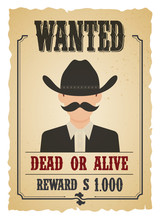 Wanted Vintage Western Poster. Old Paper.