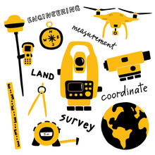 Geodetic Measuring Equipment, Engineering Technology For Land Area Survey. Funny Doodle Hand Drawn Vector Illustration. Isolated On White.