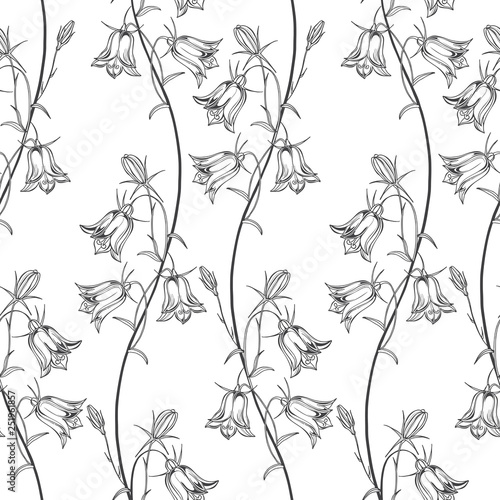Photo Seamless vector pattern with flowers bluebells