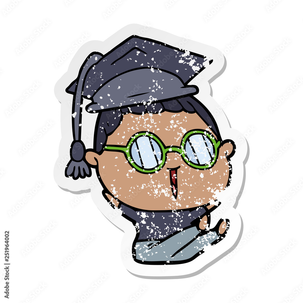 distressed sticker of a cartoon graduate wearing spectacles