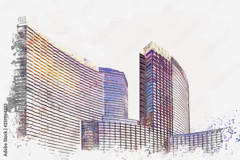 Watercolor sketch or illustration of a beautiful view of modern city buildings in Las Vegas in Nevada in the USA