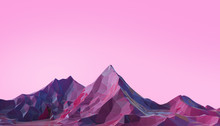 Mountain Landscape Low Poly With Colorful Gradient Psychedelic Purple On Background- 3d Rendering
