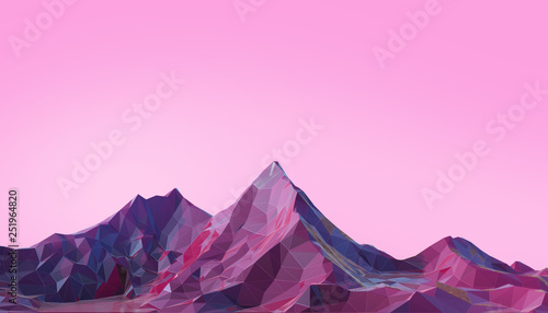 Fototapeta  Mountain Landscape Low poly with Colorful Gradient Psychedelic Purple on Backgro