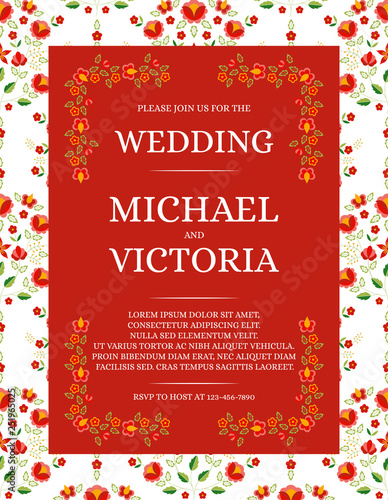 Traditional Wedding Invite Card Template Vector Red Flowers