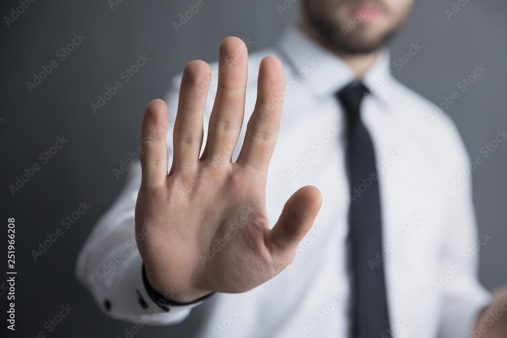 Fototapety, obrazy: man hand stop sign