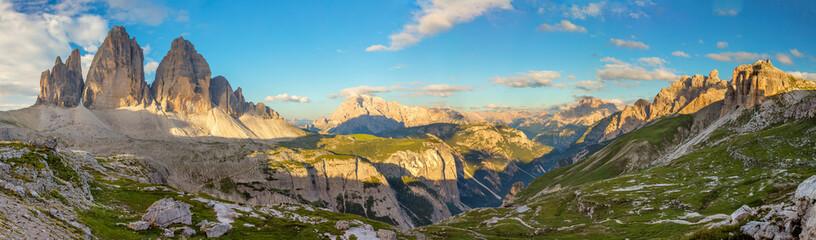 Panorama of Famous Tre Cime di Lavaredo, Dolomites Alps, Italy, Europe