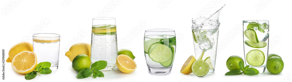 Fototapeta Glasses of infused water with citrus fruits on white background