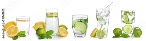 Naklejki na kafelki glasses-of-infused-water-with-citrus-fruits-on-white-background