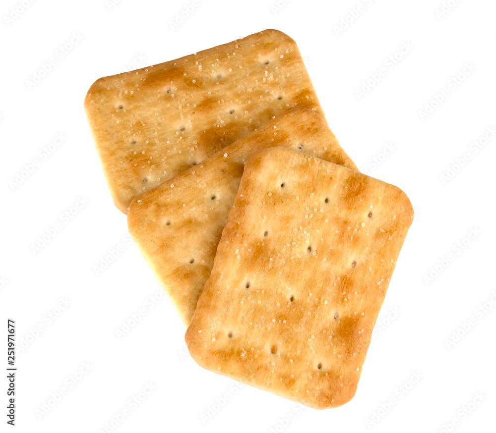 Fototapeta Crispy cracker isolated on white background