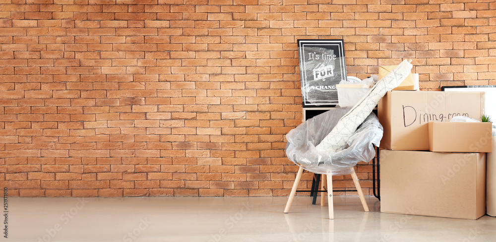 Fototapety, obrazy: Carton boxes and interior items in room. Moving house concept