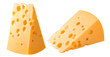 Vertical and horizontal cheese pieces isolated on white background. With clipping path