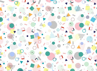 Modern Memphis geometric colorful pattern style shape background. Decorating in abstraction design artwork for ad, poster, wrapping, artwork.