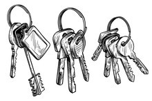 Sketch Hand Drawn Bunch Of Keys On White Background