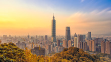Taipei, Taiwan - January  25, 2019: Skyline Of Taipei City With 101 Tower At Sunset