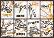 Collection Of Vector Hand Drawn Posters With Tobacco And Smoking Collection Cigarettes, Cigars, Hookah, Tobacco Leaves, Pipes. Set Of Monochrome Sketch Cards With Typographic