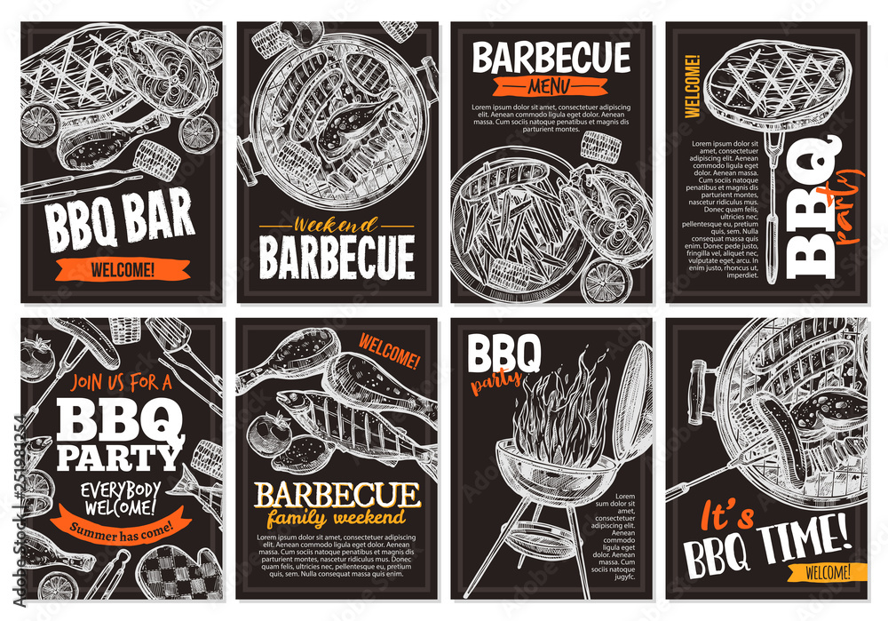 Fototapety, obrazy: Set of vector hand drawnbarbecue posters with grilled food, sausages, chicken, french fries, steaks, fish, BBQ bar and party welcome. Collection of trendy sketch cards with typographic on the chalkboa